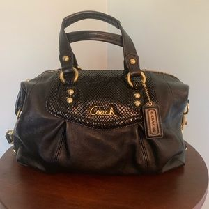 Coach black leather with snakeskin on top portion
